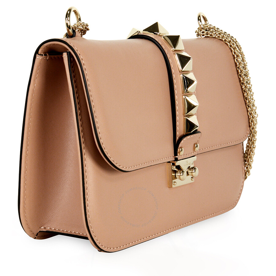 da93439eb8 Valentino Rockstud Lock Medium Leather Shoulder Bag - Soft Noisette ...