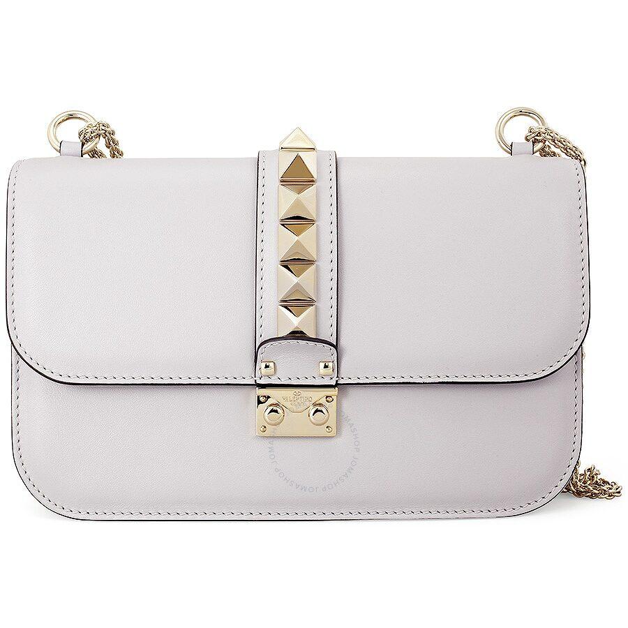 Valentino Rockstud Lock Medium Leather Shoulder Bag White