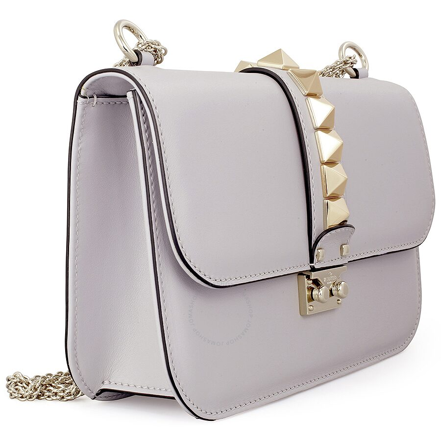 Valentino Rockstud Lock Medium Leather Shoulder Bag White