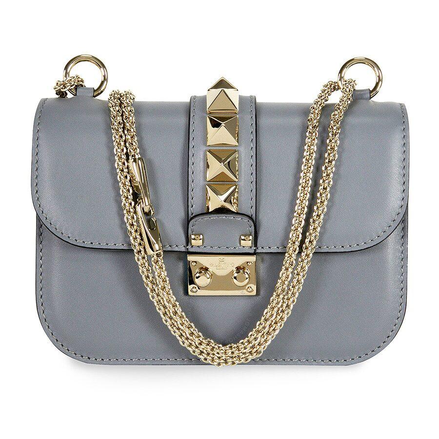 c7f175e1315 Valentino Rockstud Lock Small Leather Shoulder Bag - Grey Item No.  LW2B0312VIT-S71