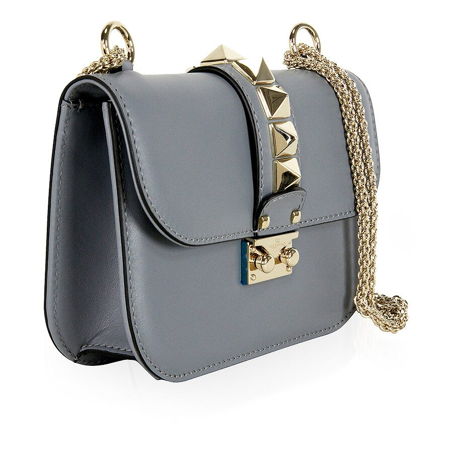 valentino rockstud lock small leather shoulder bag grey valentino handbags jomashop. Black Bedroom Furniture Sets. Home Design Ideas