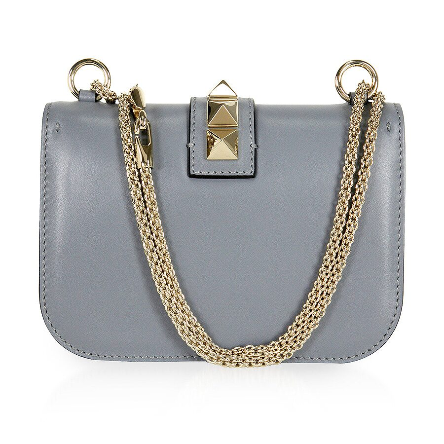 316466ef2 Valentino Rockstud Lock Small Leather Shoulder Bag - Grey ...