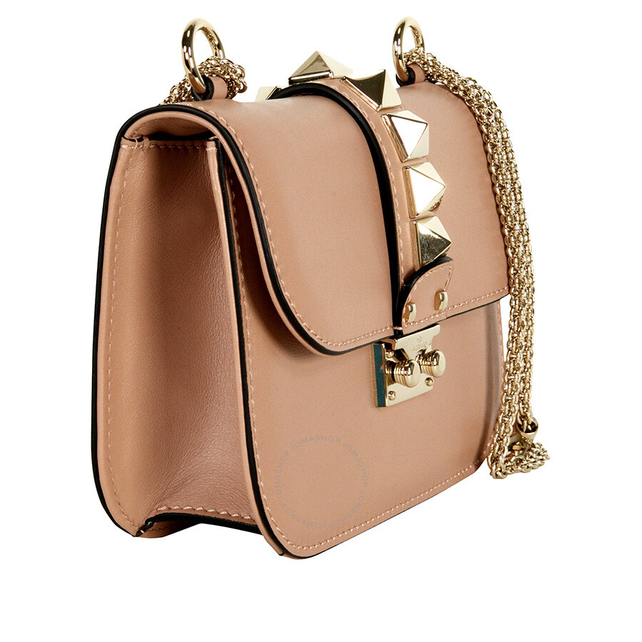01d5210d6e7 Valentino Rockstud Lock Small Leather Shoulder Bag - Soft Noisette ...