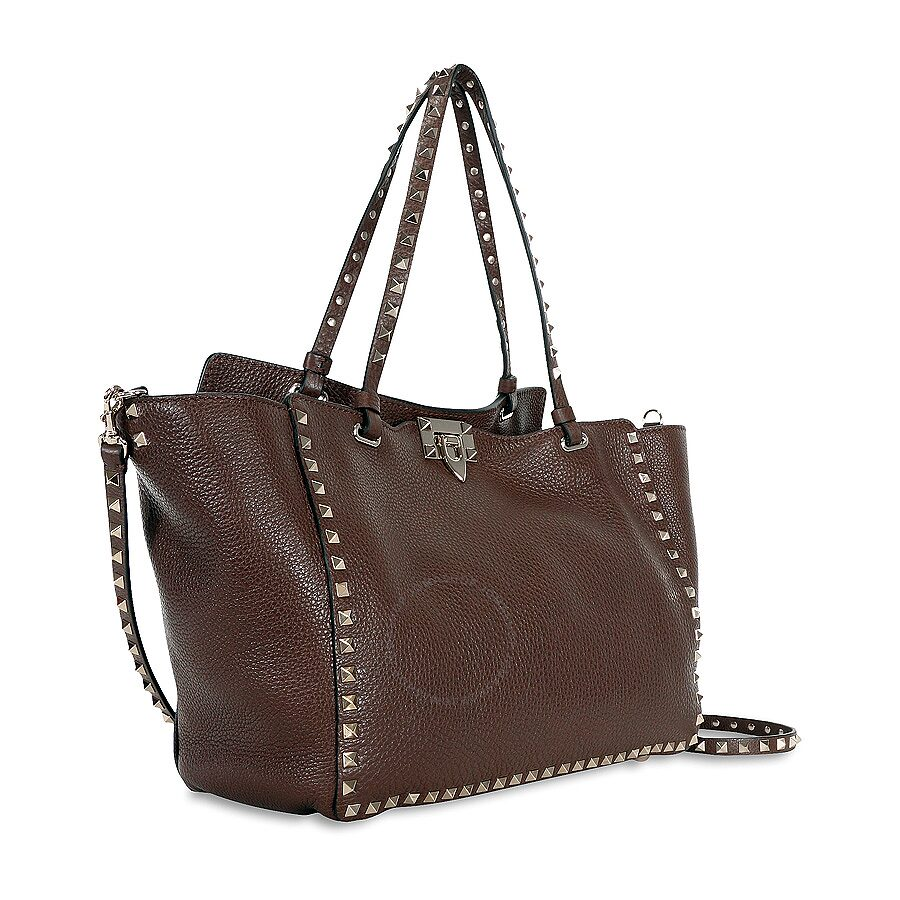 Valentino Rockstud Medium Double Handle Pebbled Leather Tote Bag Cacao