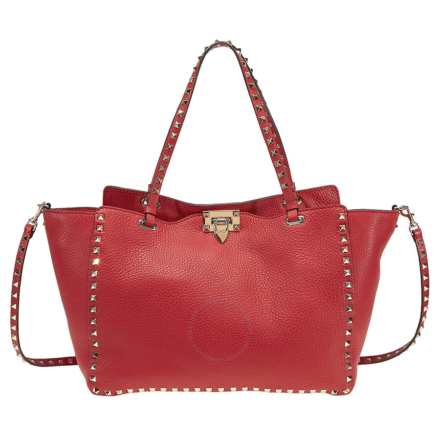 15bcdb8f517 Valentino Rockstud Medium Double Handle Pebbled Leather Tote Bag - Red