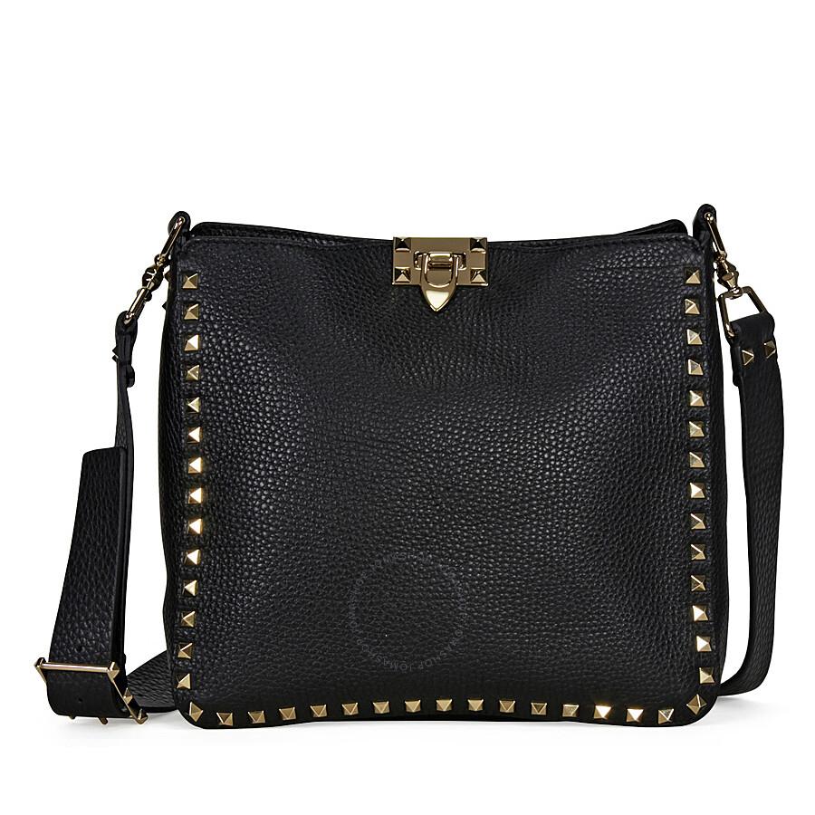 5cc0b95582 Valentino Rockstud Pebbled Leather Hobo Messenger Bag - Black Item No.  LW0B0940VSF-0NO