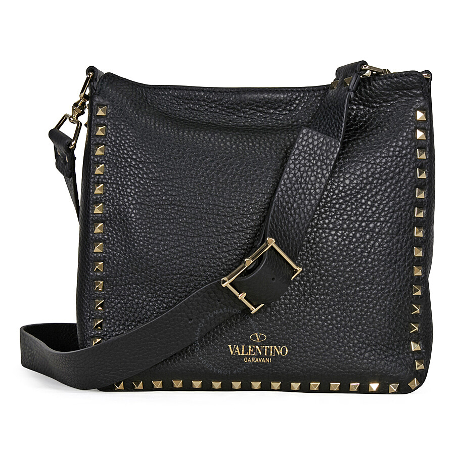 valentino rockstud pebbled leather hobo messenger bag black valentino handbags. Black Bedroom Furniture Sets. Home Design Ideas