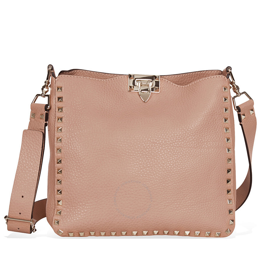 e26a6c9f67 Valentino Rockstud Pebbled Leather Hobo Messenger Bag - Skin Color Item No.  LW0B0940VSF-N33