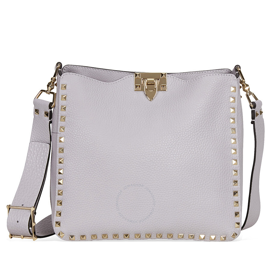 6796d9c557 Valentino Rockstud Pebbled Leather Hobo Messenger Bag - White Item No.  LW0B0940VSF-PR6