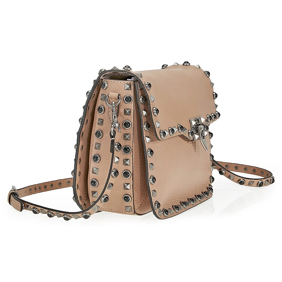 valentino rockstud rolling leather shoulder bag noisette valentino handbags jomashop. Black Bedroom Furniture Sets. Home Design Ideas