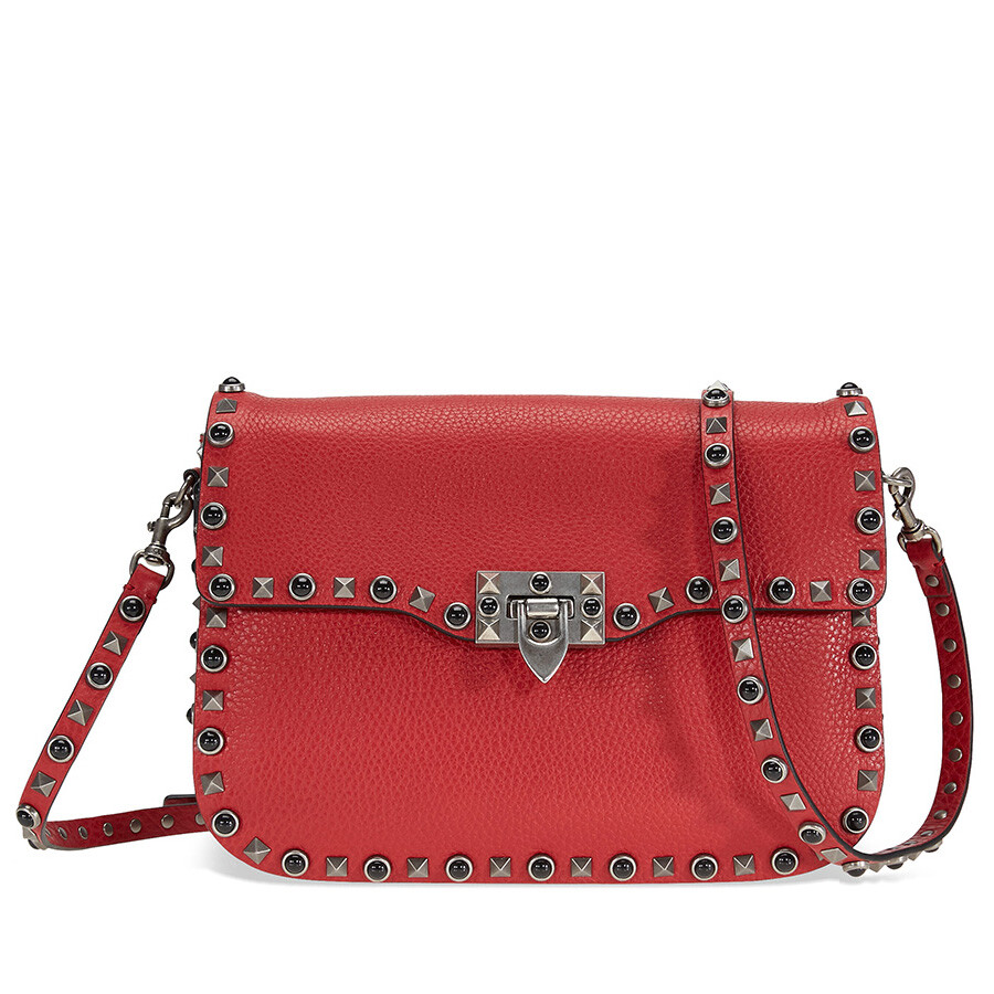 valentino rockstud rolling leather shoulder bag red valentino handbags jomashop. Black Bedroom Furniture Sets. Home Design Ideas