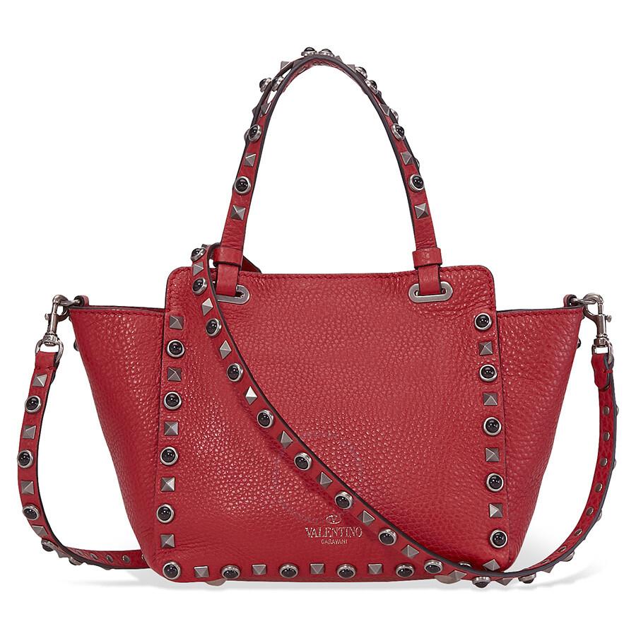 8633940ae8c2 Valentino Rockstud Rolling Mini Leather Tote - Red Item No. B0861WBA-0RO