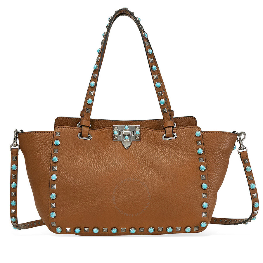 Valentino Rockstud Rolling Small Leather Tote - Brown ...