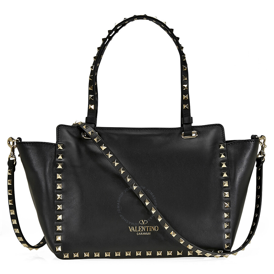 valentino rockstud small double handle leather tote bag black valentino handbags jomashop. Black Bedroom Furniture Sets. Home Design Ideas