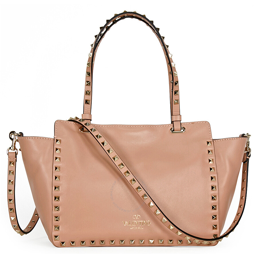 1038d7c1ec Valentino Rockstud Small Double Handle Leather Tote Bag - Nude ...