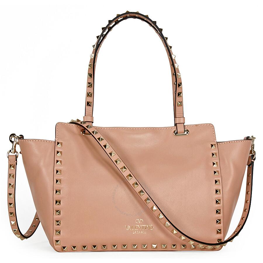 25f78b466f Valentino Rockstud Small Double Handle Leather Tote Bag - Nude Item No.  LW0B0037BOL-N33