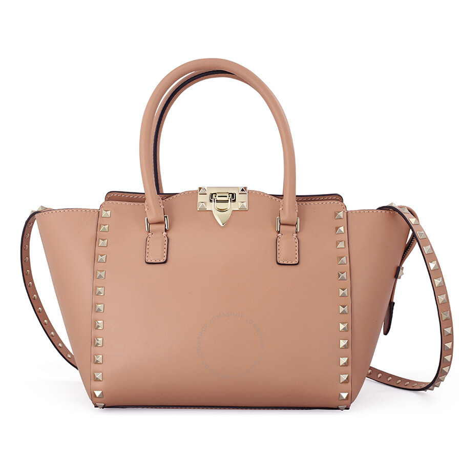 Valentino Rockstud Small Double Handle Leather Tote Bag