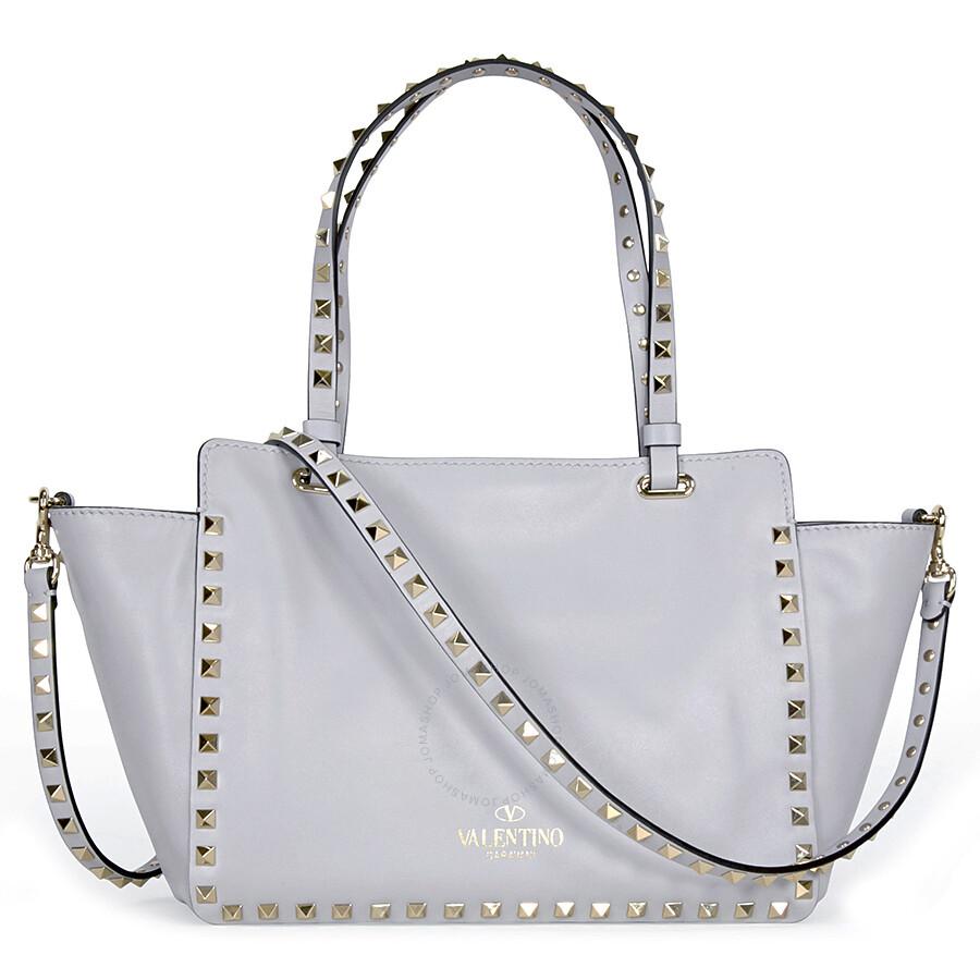 77cc39fdb1b Valentino Rockstud Small Double Handle Leather Tote Bag - Pastel Grey