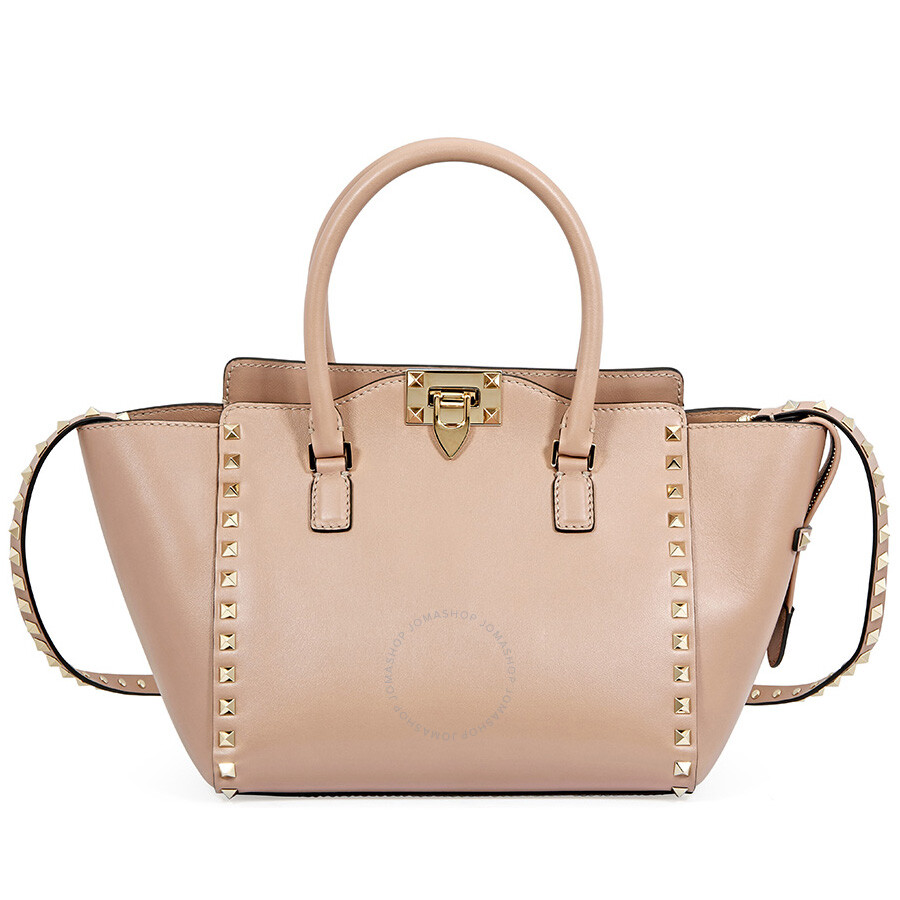 d74caa5086 Valentino Rockstud Small Double Handle Leather Tote Bag - Poudre ...