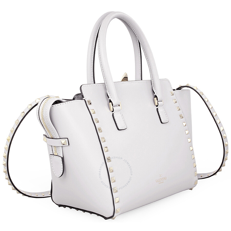 Valentino Rockstud Small Double Handle Leather Tote Bag White