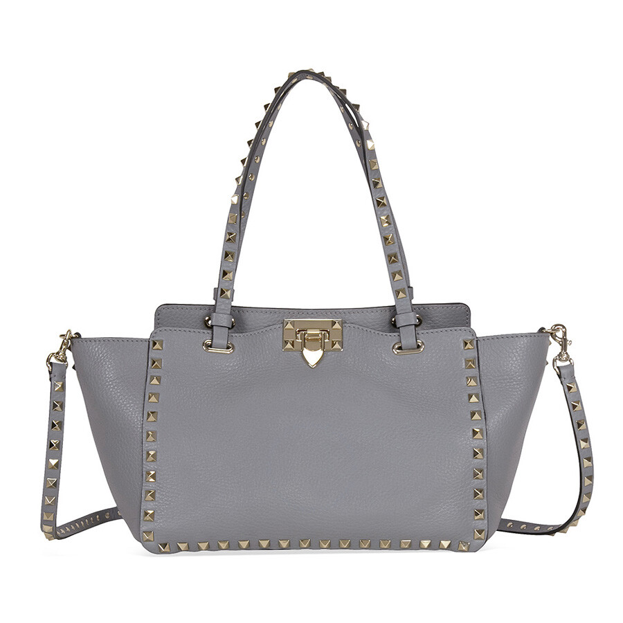 ccf1776a5 Valentino Rockstud Small Double Handle Pebbled Leather Tote Bag - Grey Item  No. LW2B0037VSF-S71