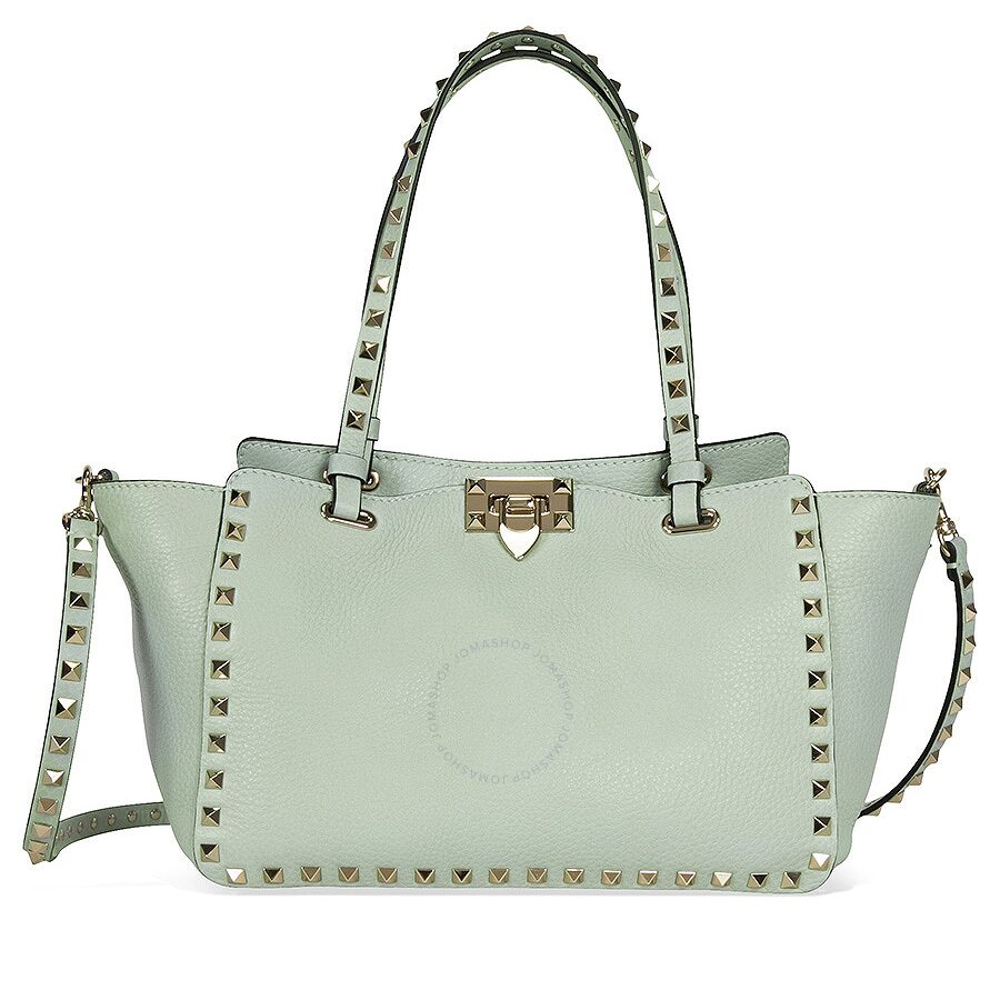 Valentino Rockstud Small Double Handle Pebbled Leather Tote Bag Mint Green