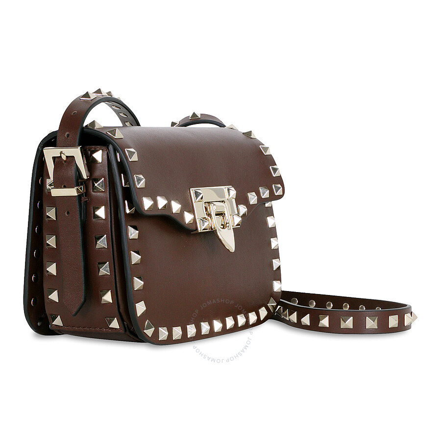 Leather Shoulder Rockstud Cacao Small Valentino Bag 6nOxEwW