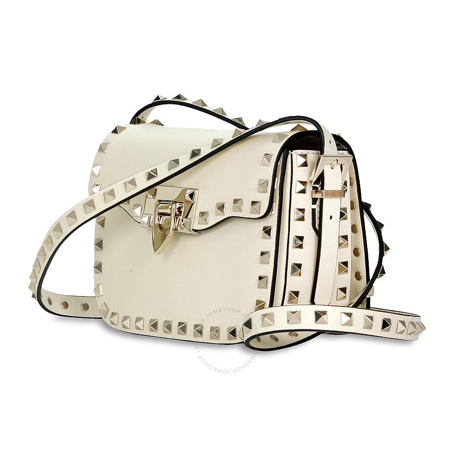 db8d9253cc Valentino Rockstud Small Leather Shoulder Bag - Ivory - Valentino ...
