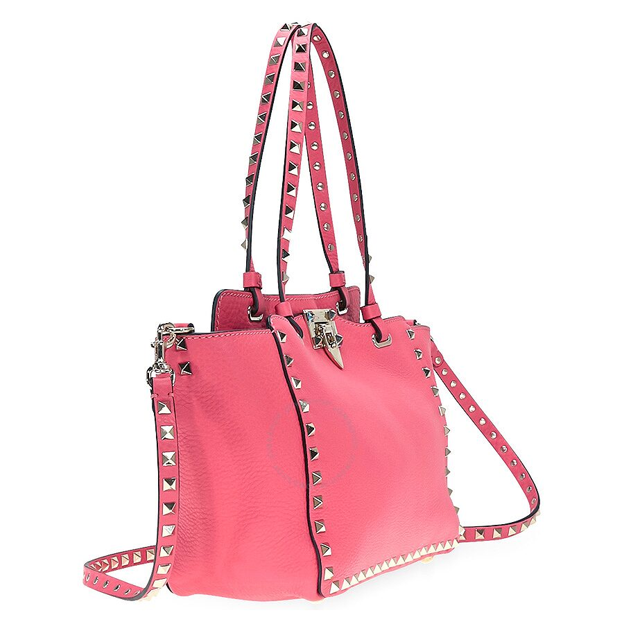 Valentino Rockstud Small Leather Tote Bright Pink