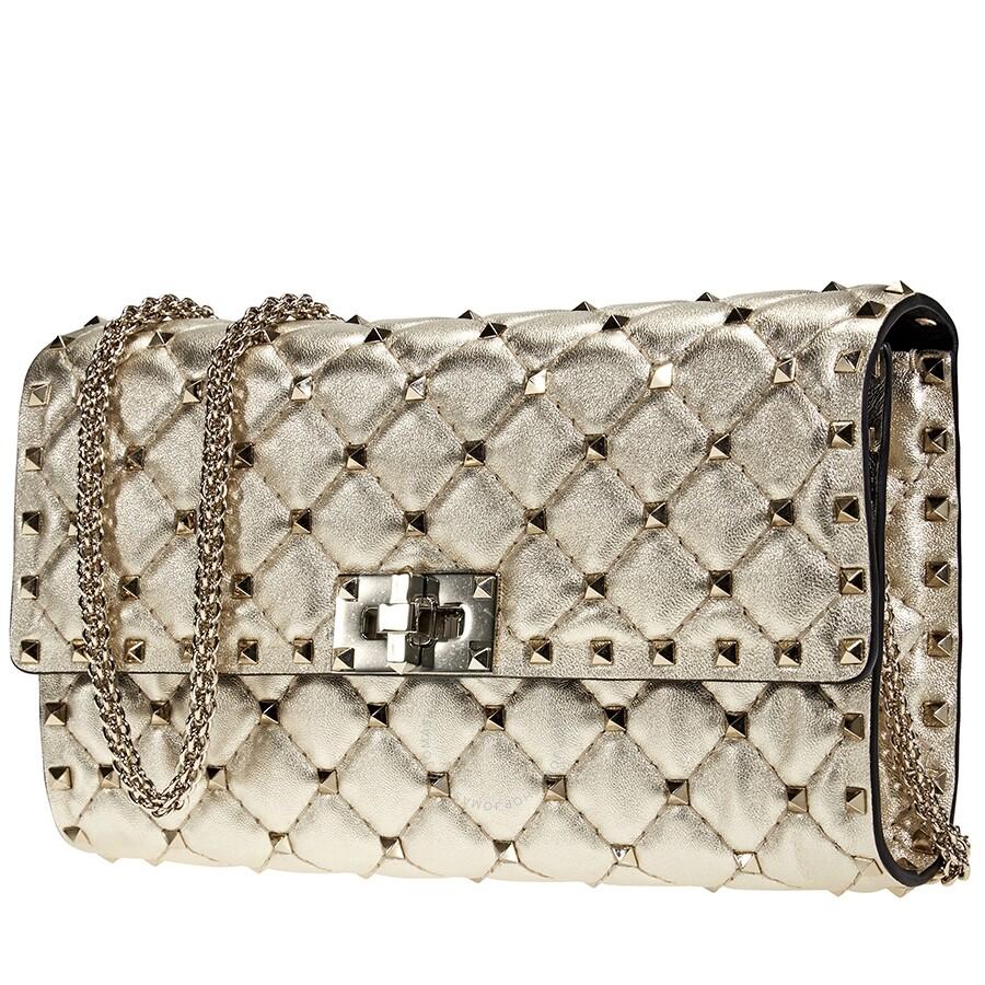 ce181dbb5 Valentino Rockstud Spike Clutch Bag- Platinum - Valentino - Handbags ...
