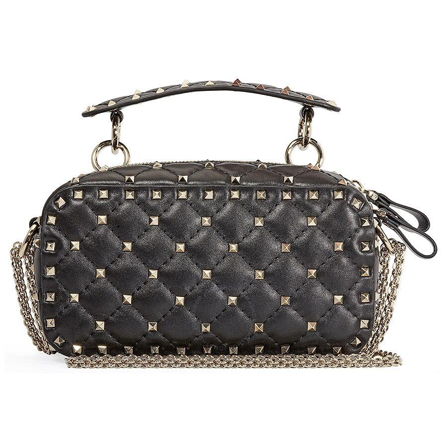88b2edf46c16 Valentino Rockstud Spike Leather Camera Bag- Black - Valentino ...