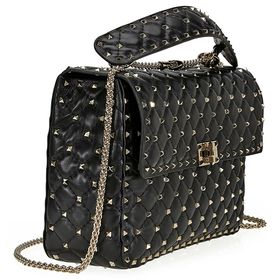 863d96cd78e Valentino Rockstud Spike Leather Large Shoulder Bag - Black ...