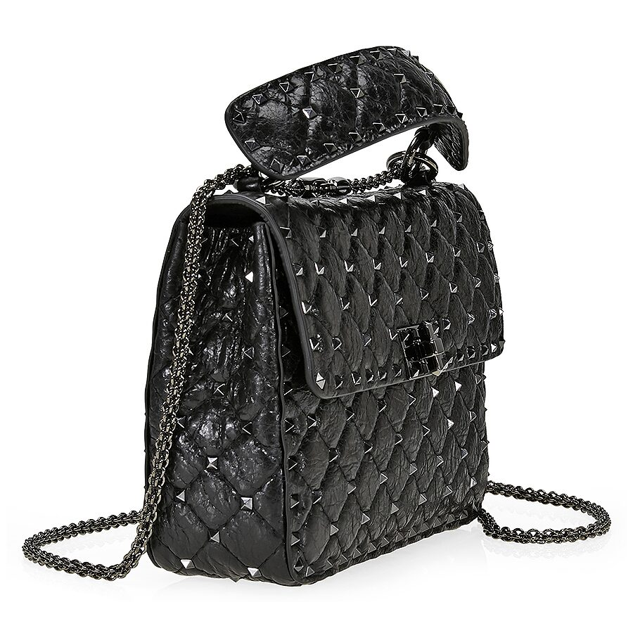 valentino rockstud spike leather shoulder bag black valentino handbags jomashop. Black Bedroom Furniture Sets. Home Design Ideas