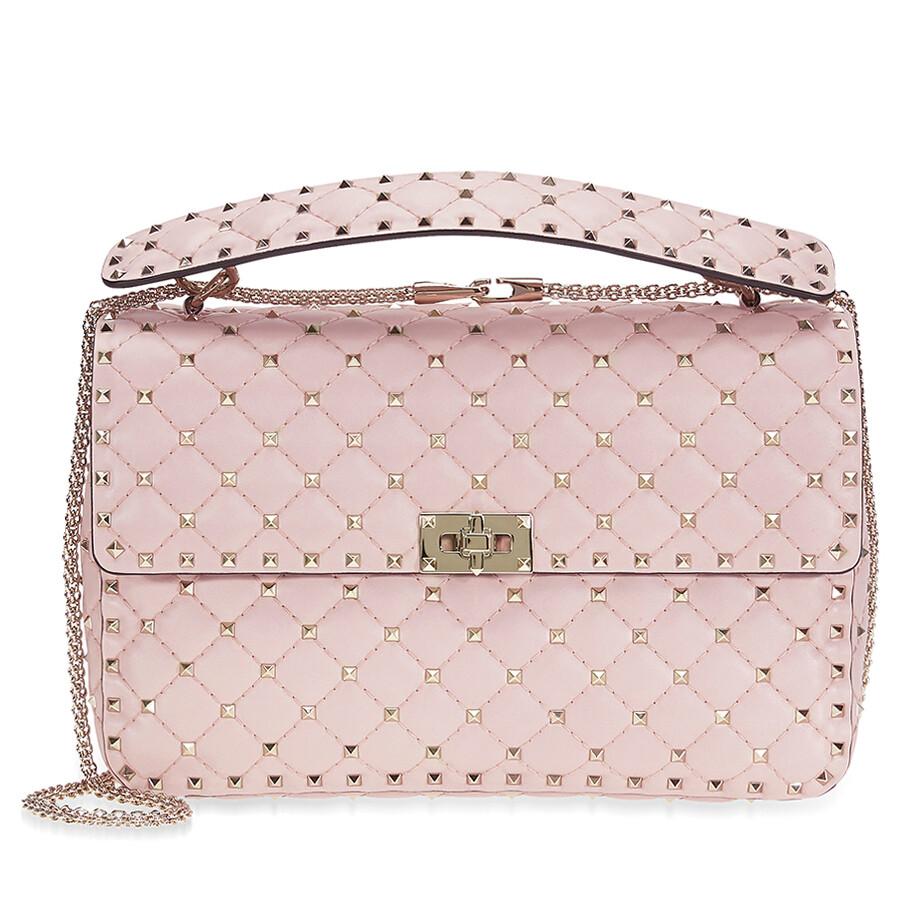 8f60bebd141 Valentino Rockstud Spike Leather Large Shoulder Bag - Pink Item No.  B0121NAP-W34