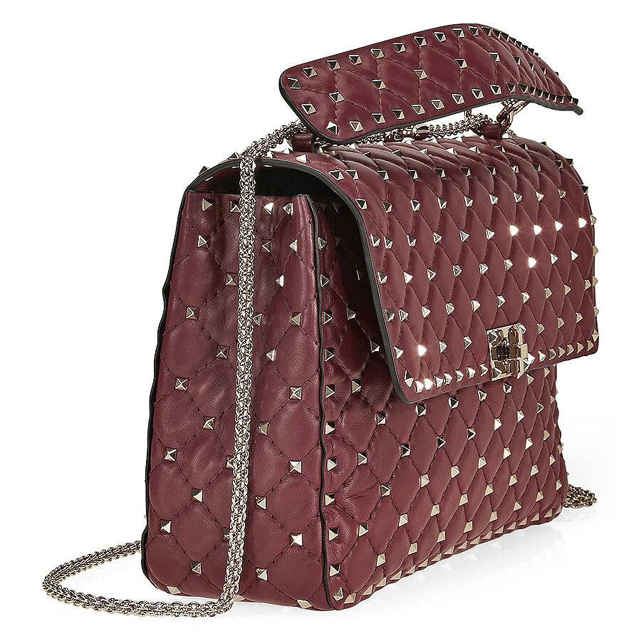 0faf76f3d5e Valentino Rockstud Spike Leather Large Shoulder Bag - Rubino ...