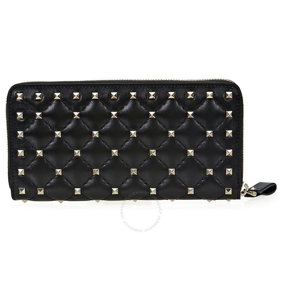 Valentino Rockstud Spike Leather Wallet - Black Item No. NW2P0P00NAP-0NO c72f689e31ca5