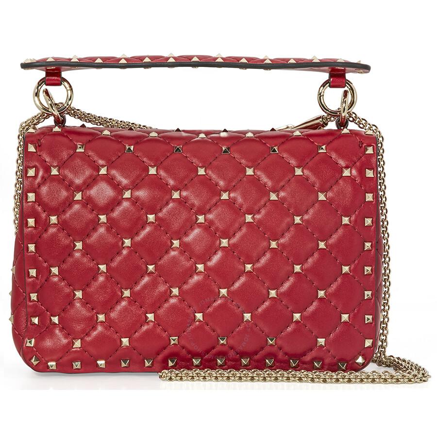 db6f2feb44 Valentino Rockstud Spike Medium Leather Shoulder Bag- Red Item No.  PW0B0122NAP-0RO
