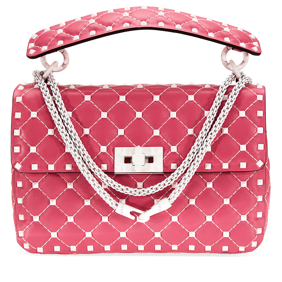 fdece174c8c8 Valentino Rockstud Spike Medium Shoulder Bag- Shadow Pink Item No. B0122RVH  0HO