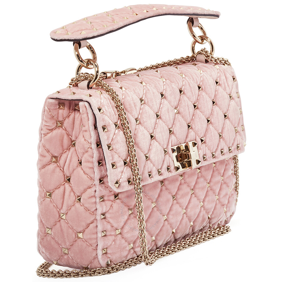 171b7c9b09 Valentino Rockstud Spike Medium Velvet Shoulder Bag- Rosa ...