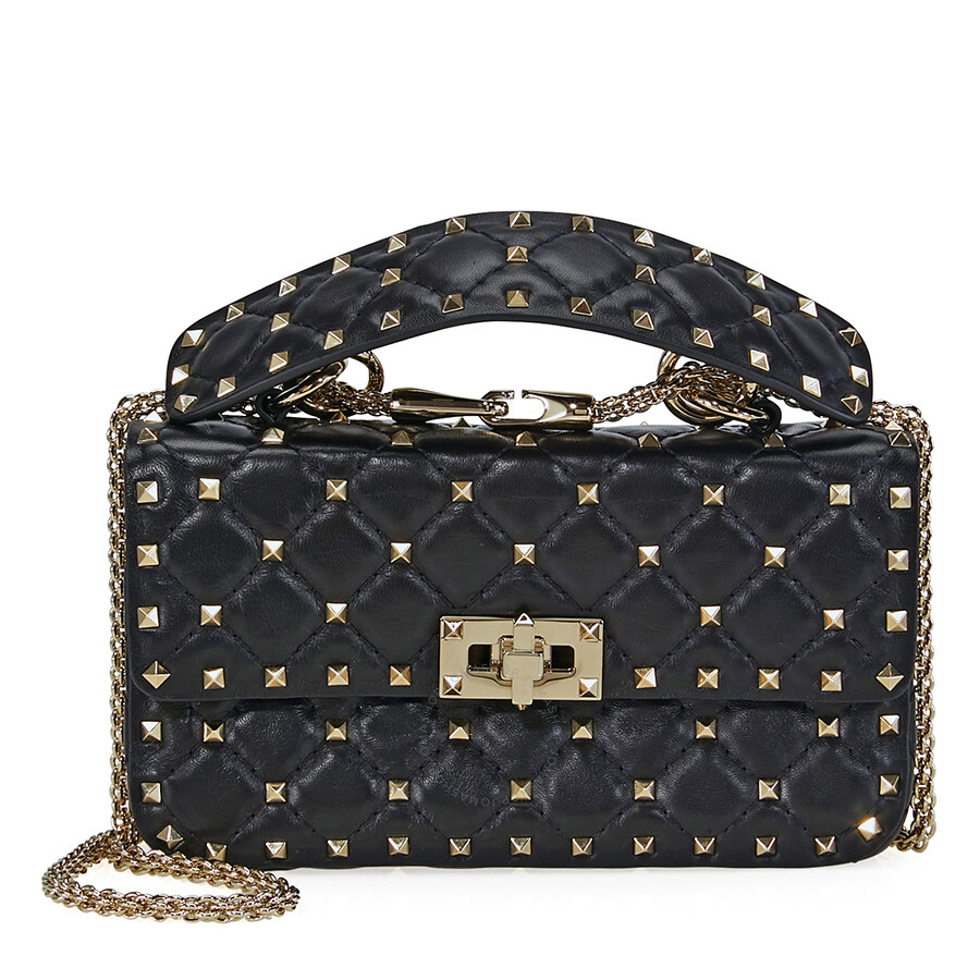 7a7b92986ee Valentino Rockstud Spike Small Chain Bag - Black Item No. B0123NAP-0NO