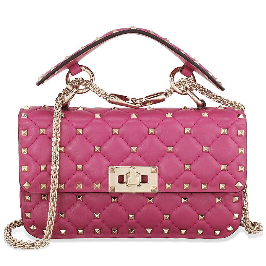 49d0676e1fb Valentino Rockstud Spike Small Chain Bag - Dark Pink Item No. B0123NAP-52A