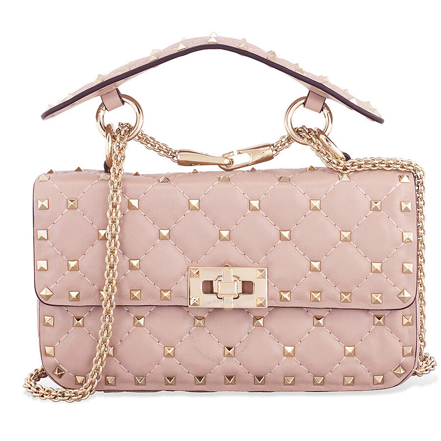 Valentino Rockstud Spike Small Chain Bag Powder Pink