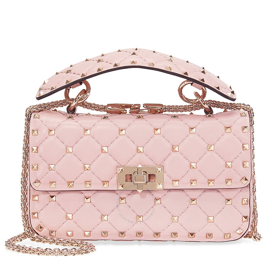 95dc106952a Valentino Rockstud Spike Small Chain Bag - Water Rose Item No. B0123NAP-W34