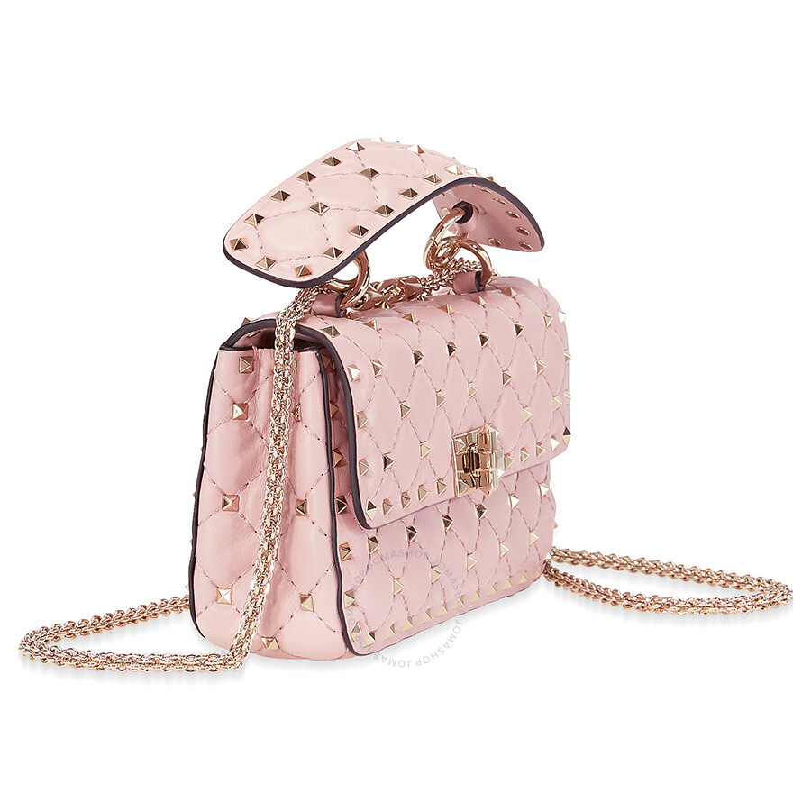 98a5c2f710 Valentino Rockstud Spike Small Chain Bag - Water Rose - Valentino ...