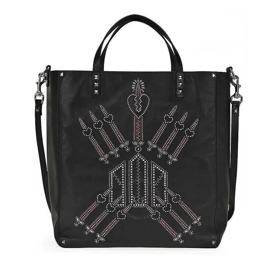 be069a51f6 Valentino Studded Leather Womens Tote Bag - Black Rubino