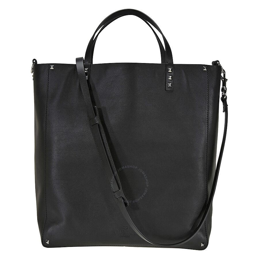 Valentino Studded Leather Womens Tote Bag Black Rubino