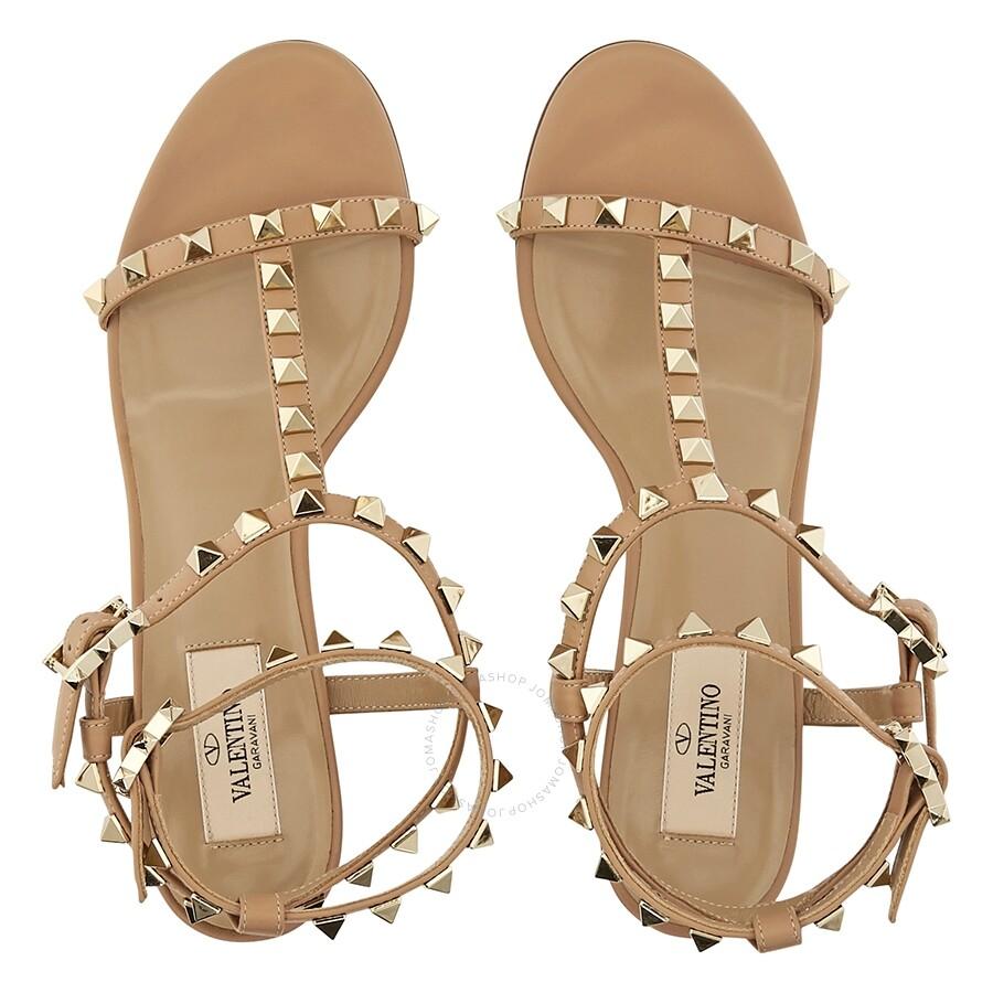 3ecc9129809e Valetino Rockstud T-Strap 60mm Sandals- Beige Size 36.5 - Shoes ...