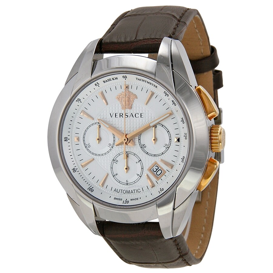 ec2b4f3b452 Versace Character Chronograph Automatic Silver White Dial Brown Leather Men s  Watch M9A99D002-S497 ...
