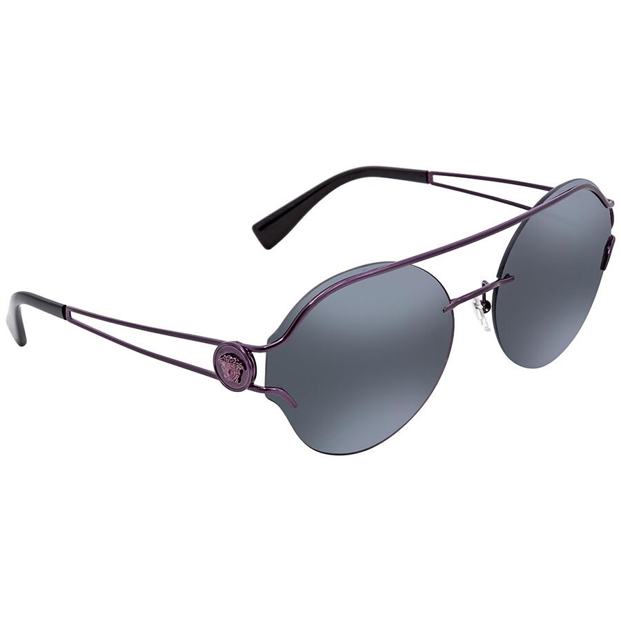 79a5372acbfd Versace Dark Grey Mirror Green Round Sunglasses VE2184 1414C0 61 ...