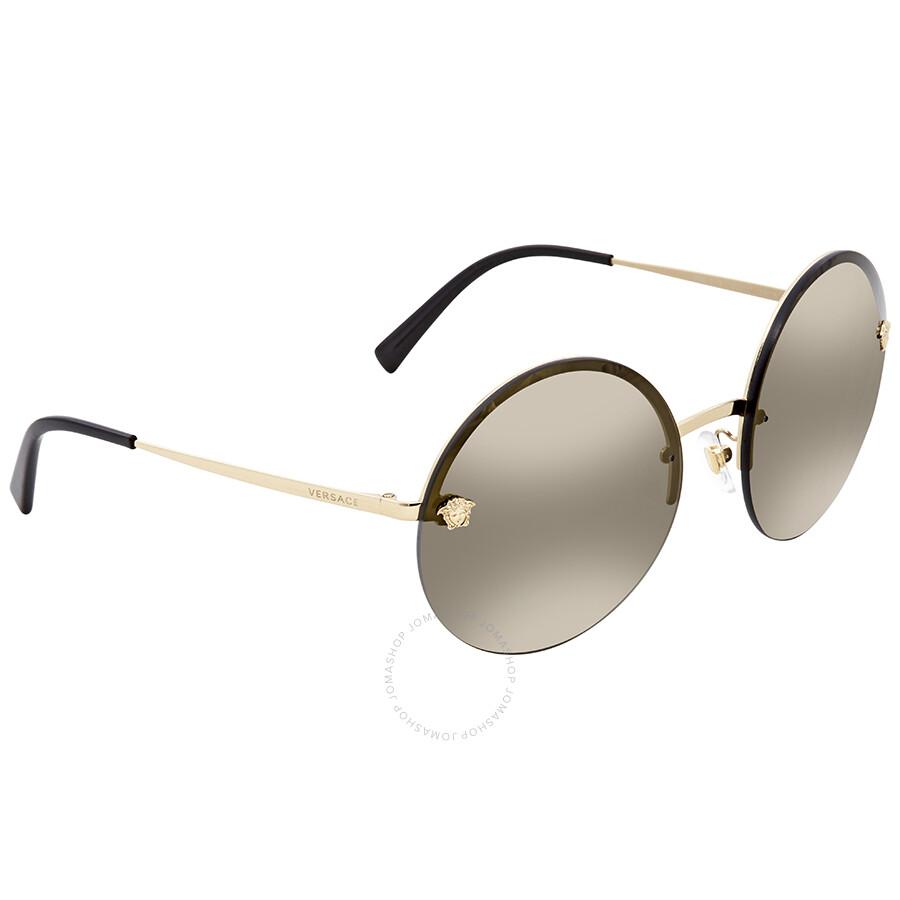 ac2e660950d7 Versace Dark Grey Mmirror Light Gold Round Sunglasses VE2176 12524T 59 ...